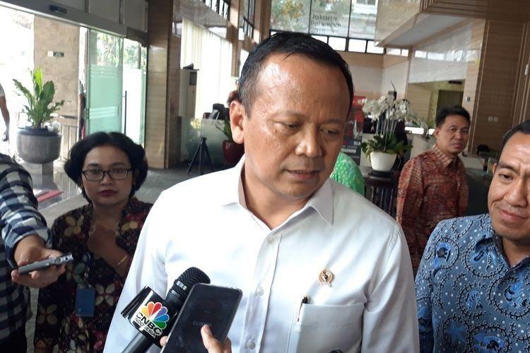 Menteri Kelautan dan Perikanan Edhy Prabowo ketika ditemui di Kantor Kementerian Koordinator Bidang Perekonomian, Jakarta, Selasa (5/11/2019).