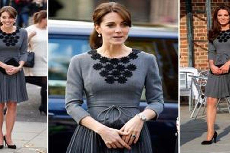 Busana abu-abu yang dipakai ulang oleh Kate Middleton