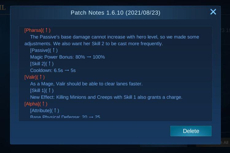 Daftar isi pembaruan Mobile Legends versi 1.6.10.