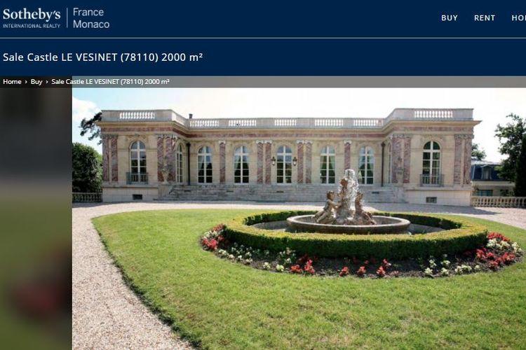 Tampak depan Palais Rose, kastel bersejarah yang dikabarkan bakal menjadi hunian baru Lionel Messi dan keluarga. (Sumber gambar: Tangkapan layar Sotheby's Realty)
