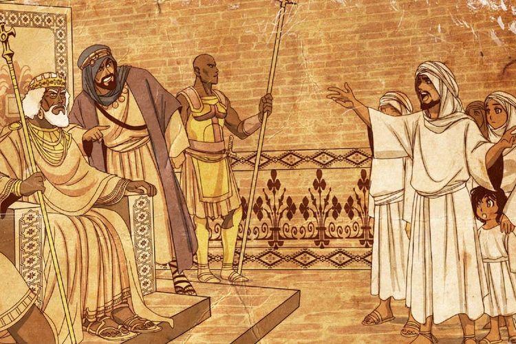 Ilustrasi raja Abyssinia ketika bertemu dengan kaum Muslim dari Makkah. [Nayzak Via Al Arabiya]