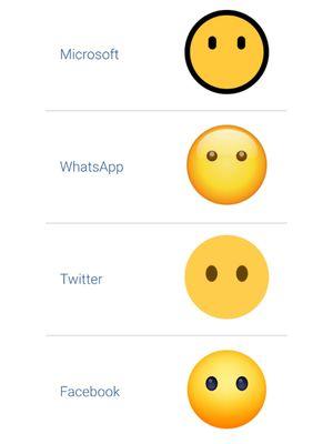 Tampilan emoji wajah tanpa mulutu di berbagai platform.