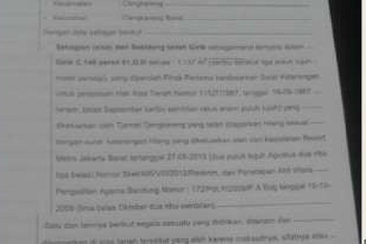 Dokumentasi pembelian lahan Cengkareng Barat oleh Dinas Perumahan DKI.
