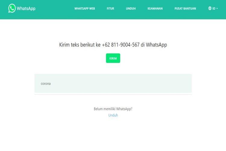 Chatbot yang disediakan untuk informasi resmi seputar virus corona