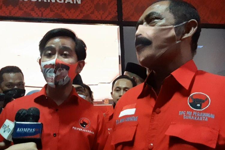 Calon Wali Kota Solo Gibran Rakabuming Raka dan Ketua DPC PDIP Solo FX. Hadi Rudyatmo di Panti Marhaen Semarang, Jumat (17/7/2020).