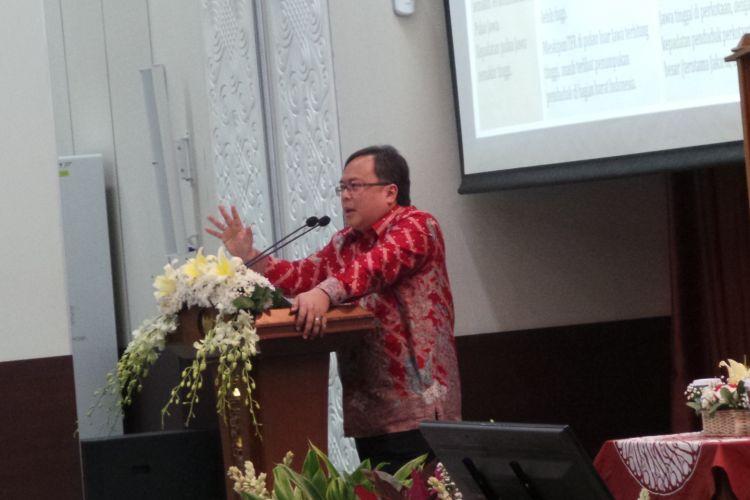 Menteri Perencanaan Pembangunan Nasional atau Kepala Bappenas Bambang Brodjonegoro saat menyampaikan sambutan dalam Dialog Kebijakan: Demografi Indonesia dan Masa Depan yang Diinginkan, di kantor Bappenas, Menteng, Jakarta Pusat, Selasa (11/3/2017).