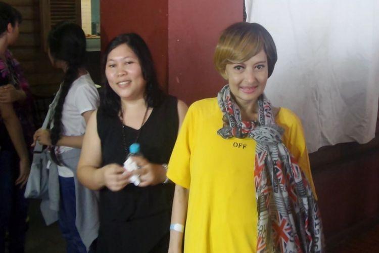 Yana Zein di Bandara Internasional Soekarno-Hatta, Tangerang, Banten, Minggu (28/5/2017).