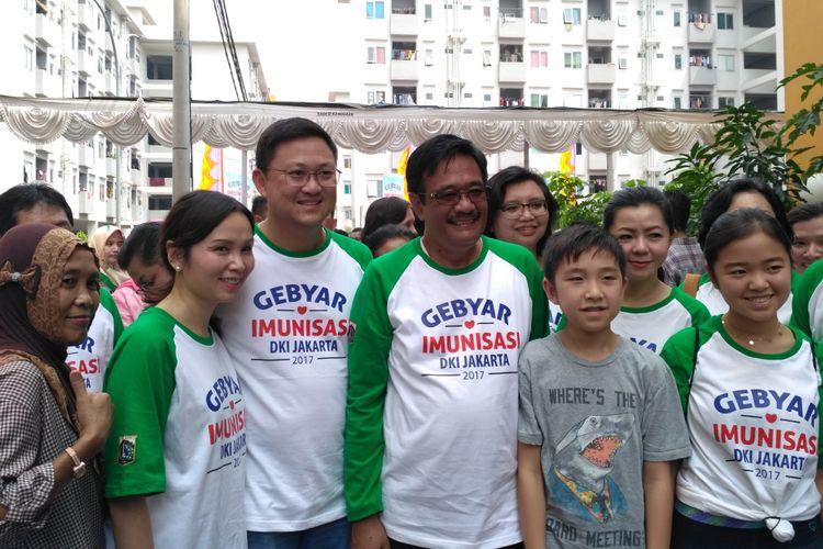 Plt Gubernur DKI Jakarta Djarot Saiful Hidayat menghadiri Gebyar Imunisasi di Rusun Pesakih, Sabtu (13/5/2017).