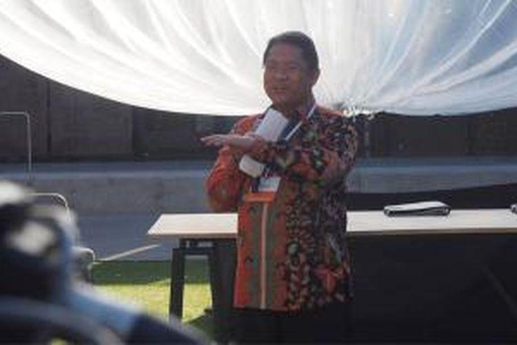 Menteri Komunikasi dan Informatika Rudiantara berbicara dalam acara penandatanganan nota kesepahaman di Google X, Mountain View, Rabu (28/10/2015).