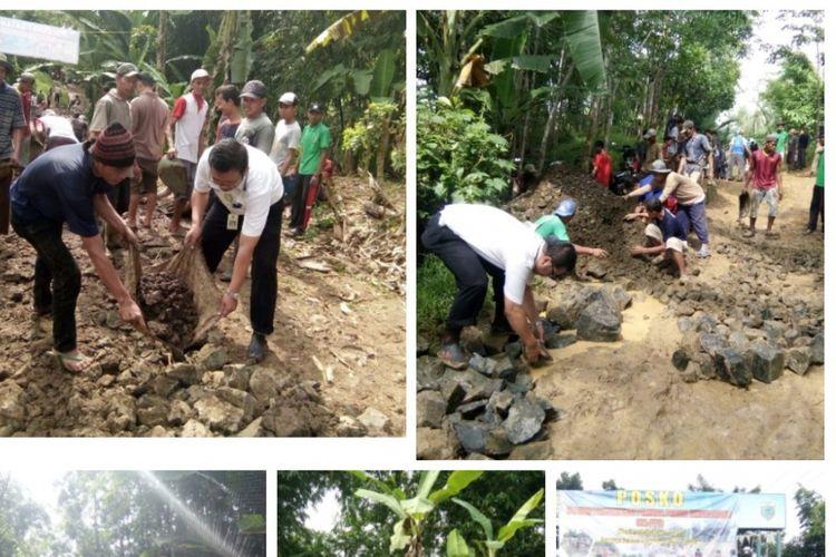 Masyarakat dan pejabat setempat melakukan perbaikan jalan menuju Puskesmas Sindangresmi, Kabupaten Pandeglang. Kondisi jalan yang menghubungkan Pasirlancar dan Sindangresmi tersebut rusak hingga sulit dilalui kendaraan.
