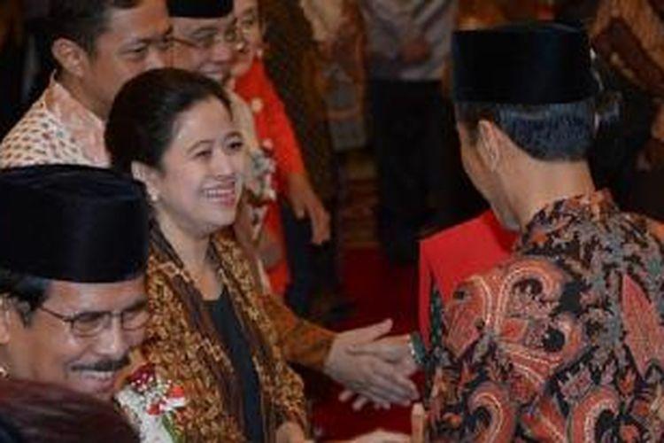 Puan Maharani ketika acara pelantikan Kabinet Kerja Joko Widodo