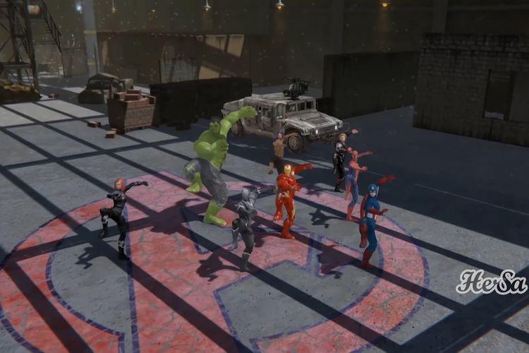 Avengers menari tarian Jawa dalam sebuah video di kanal YouTue Hersa Animation.
