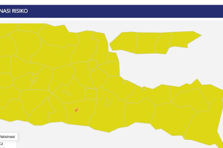 Hampir seluruh daerah atau sebanyak 37 daerah di Jatim berstatus zona kuning atau berisiko rendah penularan Covid-19. Hanya satu daerah yang berstatus zone oranye atau risiko sedang, yakni Kota Blitar.