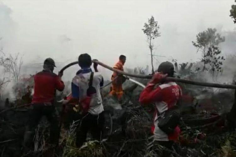 Tim Manggala Agni Daops Rengat berupaya memadamkan api karhutla di Desa Penarikan, Kecamatan Langgam, Pelalawan, Riau, Senin (29/7/2019). Dok. Manggala Agni Daops Rengat