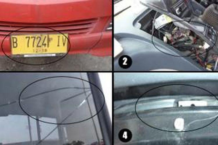 Gambar 1: Bus Transjakarta baru dengan nomor polisi B 7724 IV. Gambar 2: Instrumen dashboard tidak dibaut. Gambar 3: Kaca spion kanan rusak. Gambar 4: Tutup panel speedometer kendur.