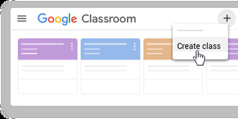 Ilustrasi prosedur membuat kelas di Google Classroom