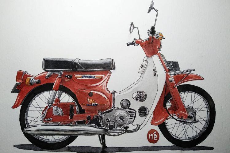Honda Pitung C70 dalam goresan sketsa perupa Oni Faristiwa.