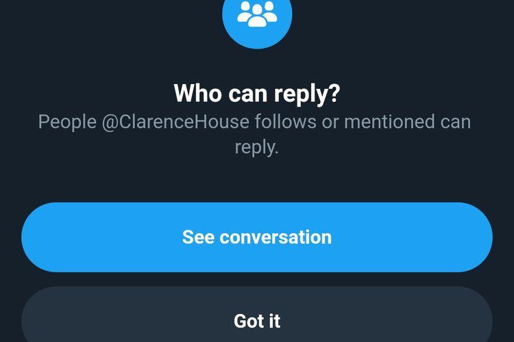 Twitter Pangeran Charles dan Camilla, @ClarenceHouse kini membatasi komentar hanya dari akun yang mereka ikuti atau sebut (mention).