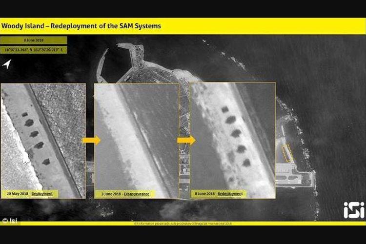 Foto citraan satelit dari atas Pulau Woody di perairan Laut China Selatan yang diambil dalam tiga waktu yang berbeda, menunjukkan adanya penempatan kembali sistem peluncur rudal mereka setelah sempat ditarik.