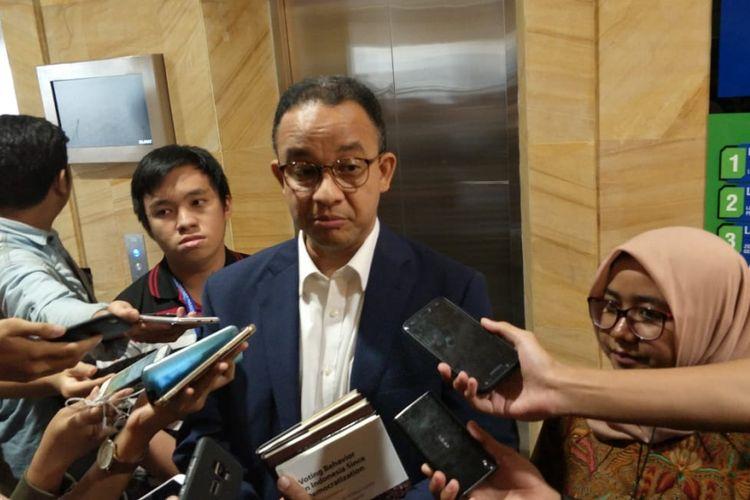 Gubernur DKI Jakarta Anies Baswedan di Perpustakaan Nasional, Jalan Medan Merdeka Selatan, Minggu (15/7/2018).