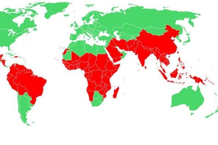 Peta warna merah menunjukkan malaria masih menjadi masalah di banyak negara di dunia.