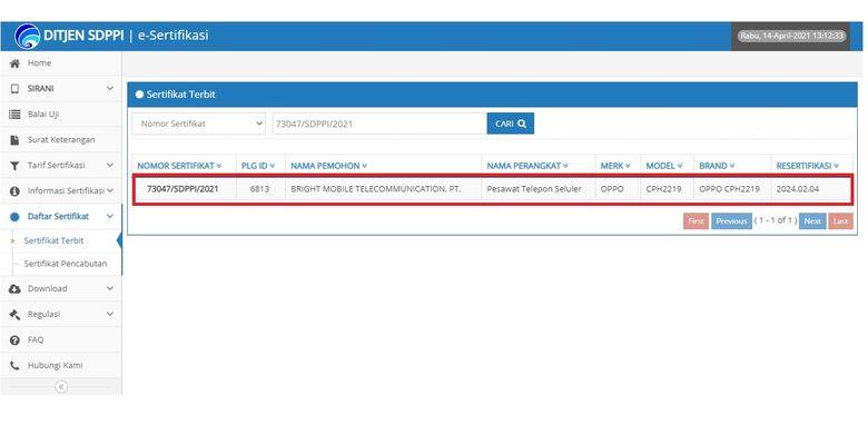 Tangkapan layar sertifikasi perangkat Oppo di laman Postel DItjen SDPPI Kemenkominfo