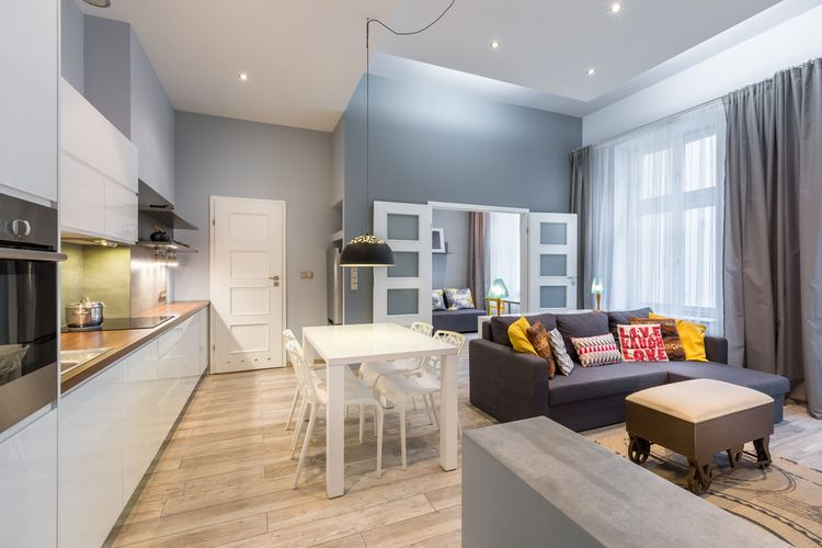 Ilustrasi interior apartemen minimalis.