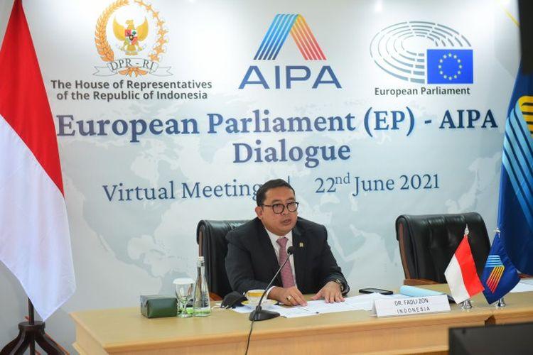 Ketua BKSAP DPR RI Fadli Zon saat menjadi pembicara dialog daring antara Parlemen Eropa dengan Parlemen Negara-negara ASEAN (AIPA).