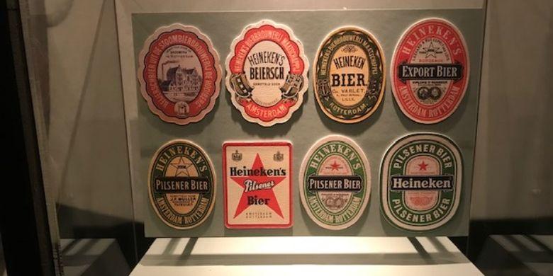 Logo yang pernah dipakai bir Heineken dari waktu ke waktu.