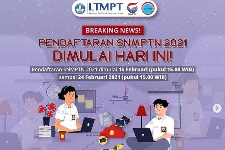 Tampilan layar pendaftaran SNMPTN 2021.