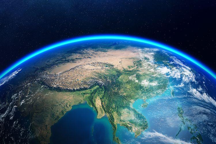 Ilustrasi daratan benua Asia.