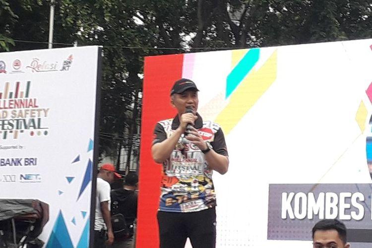 Dirlantas Polda Metro Jaya Kombes Yusuf dalam acara Millennial Road Safety Festival di car fre day, Jalan MH Thamrin, Jakarta Pusat pada Minggu (20/1/2019).