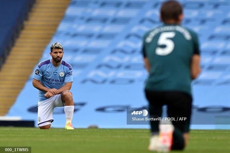 Sergio Aguero dalam laga Liga Inggris Manchester City vs Burnley, Selasa (23/6/2020) dini hari WIB.