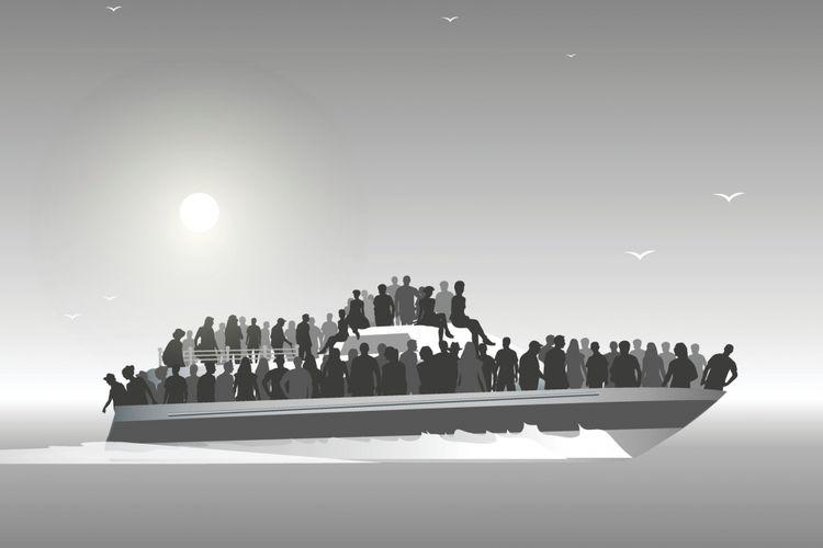 Ilustrasi migran.