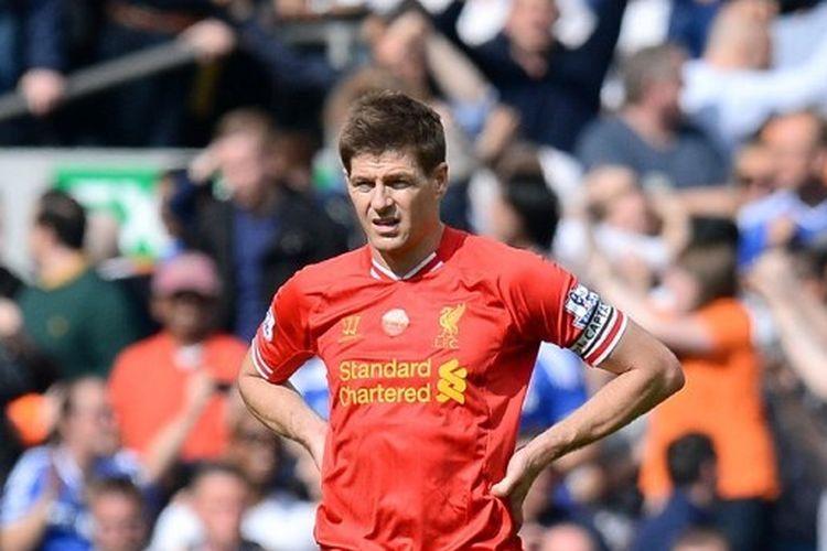 Steven Gerrard dalam laga Liverpool vs Chelsea, di Stadion Anfield, 27 April 2014.