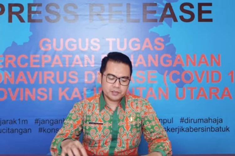 Jubir Tim Gugus Tugas Penanganan Covid-19 Kaltara, Agust Suwandy saat memberikan keterangan pers melalui konferensi video, Kamis (16/4/2020).