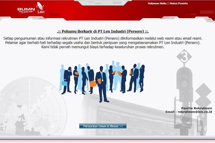 Tangkapan layar terkait lowongan kerja di PT Len Industri