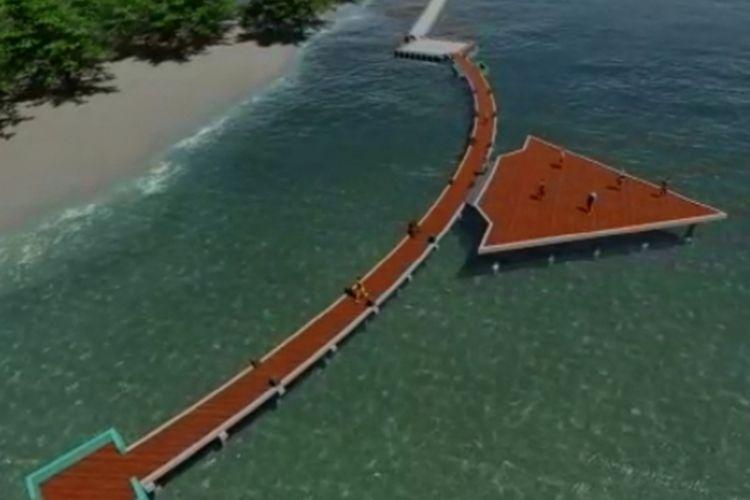 Desain Jembatan Panah Asmara yang sedang di bangun di Pulau Tidung, Kepulauan Seribu