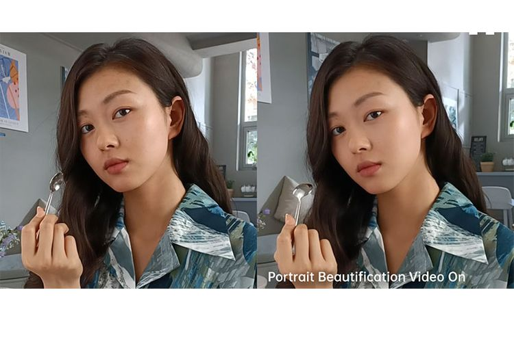 Perbandingan hasil video menggunakan fitur Portrait Beautification Video.