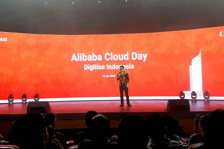 Head of Alibaba Cloud Indonesia Leon Chen saat berbicara di dalam acara Alibaba Cloud Day di Jakarta, Kamis (16/1/2020).