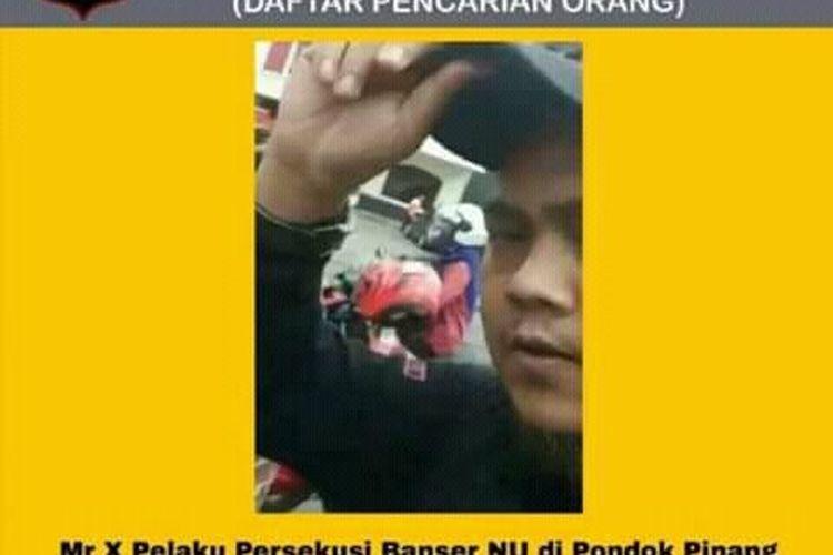 Beredar sebuah poster daftar pencarian orang (DPO) yang diduga melakukan persekusi terhadap anggota Barisan Ansor Serbaguna Nahdlatul Ulama (Banser NU) di Pondok Pinang, Jakarta Selatan, Selasa (10/12/2019) lalu.