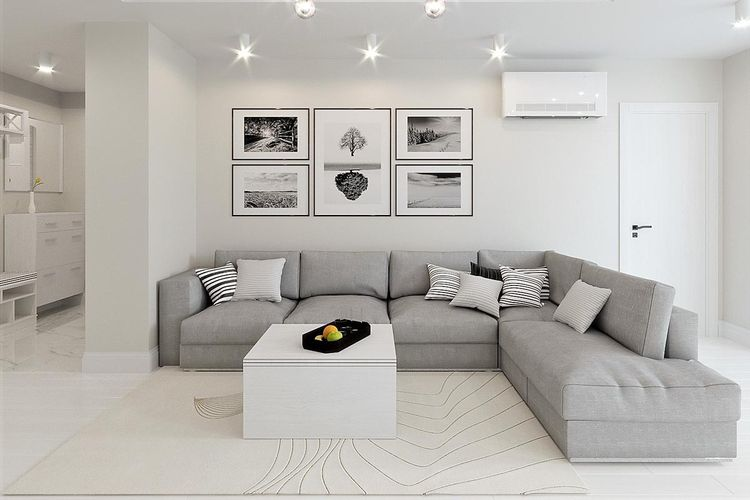 Paduan putih dan abu-abu yang cantik dalam ruang keluarga minimalis