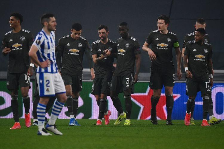 Bruno Fernandes dkk merayakan gol ke gawang Real Sociedad. Manchester United sukses menaklukkan Sociedad pada laga leg pertama babak 32 besar Liga Europa, Jumat (19/2/2021) dini hari WIB.