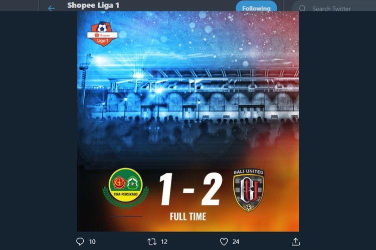 Pertandingan Tira Persikabo vs Bali United pada lanjutan pekan ke-14 Liga 1 2019 berakhir dengan skor 1-2, Kamis (15/8/2019).