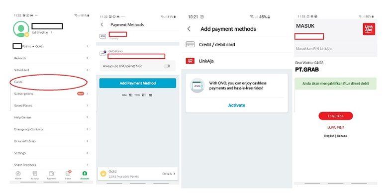 Cara aktivasi LinkAja di aplikasi Grab.
