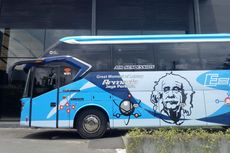 Bus Baru PO Armada Jaya Perkasa dengan Wajah Einstein di Bodi
