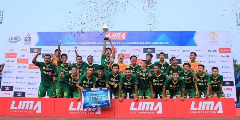 Universitas Negeri Jakarta (UNJ) menabalkan diri sebagai tim terkuat di region Jakarta Raya dalam perhelatan LIMA Football: Air Mineral Prim-A Greater Jakarta Conference (GJC) 2018.