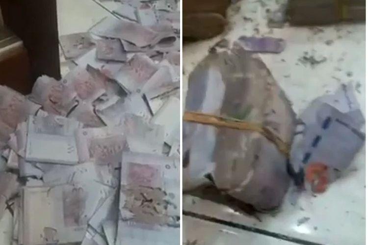 Tangkapan layar dari video yang menunjukkan tumpukan uang hampir Rp 1 miliar yang disimpan seorang nenek di kaleng susu, rusak dimakan serangga.