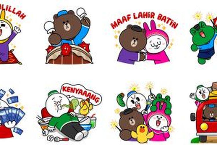 Stiker Line dengan tema Lebaran bisa diunduh mulai Rabu (15/7/2015).