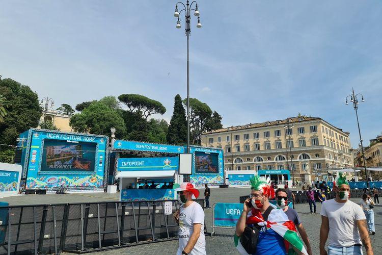 Suasana Fan Zone di Roma jelang laga pembukaan Euro 2020 antara Turki dan Italia, Sabtu (12/6/2021) dini hari WIB.